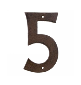 AES - House Number 5/Brown Cast Iron, 6""