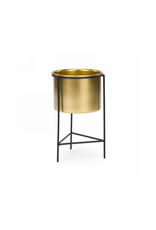 """AES - Plant Pot in Stand/Gold & Black, 4.5 x 8"""""""