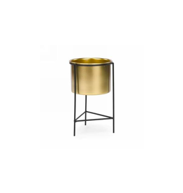AES - Plant Pot in Stand/Gold & Black, 4.5 x 8""