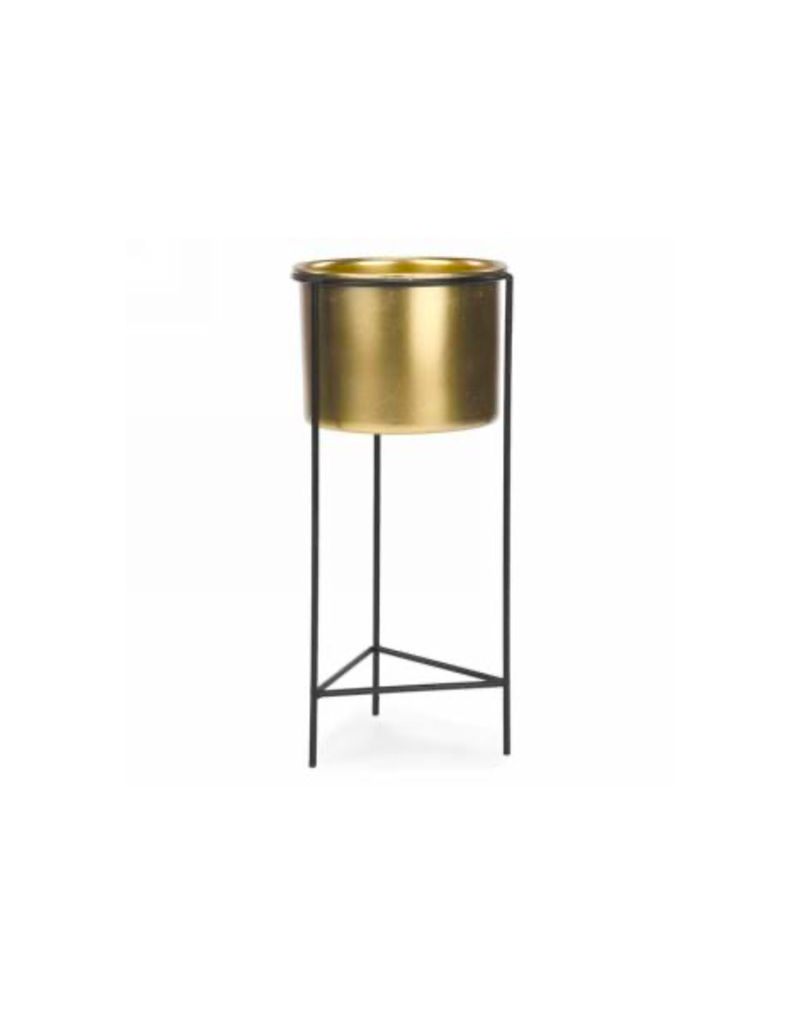 AES - Plant Pot in Stand/Gold & Black, 4.5 x 11""