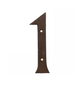 """AES - House Number 1 / Brown Cast Iron, 6"""""""