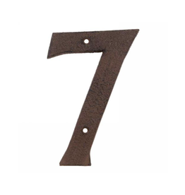 """AES - House Number 7 / Brown Cast Iron, 6"""""""