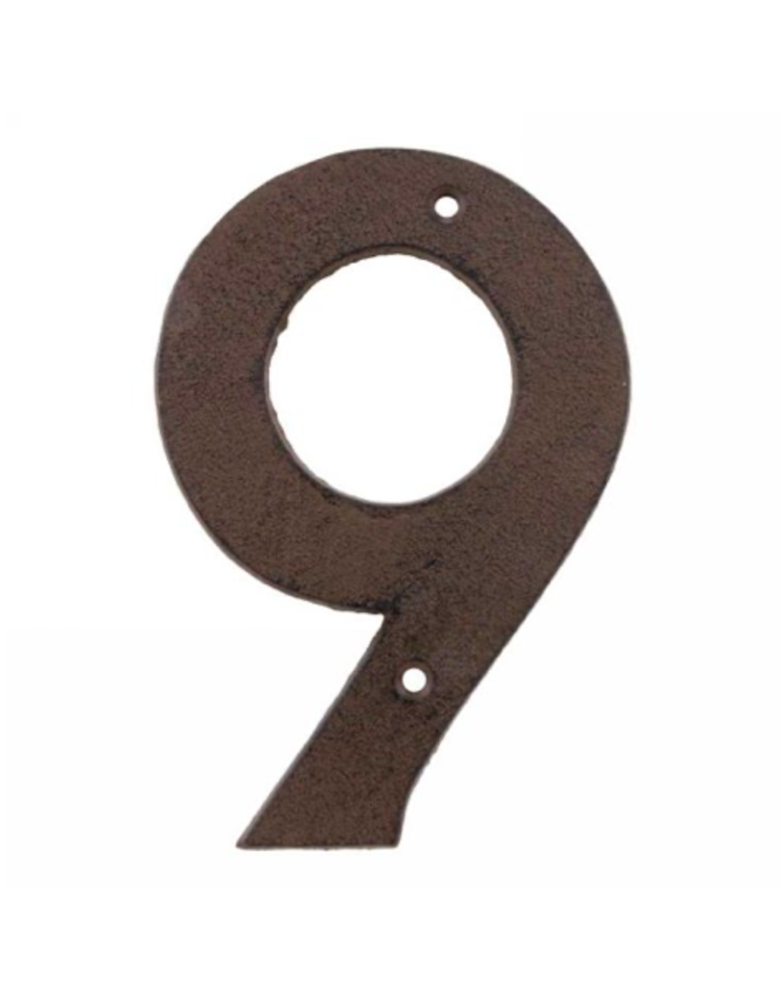 """AES - House Number 9/Brown Cast Iron, 6"""""""