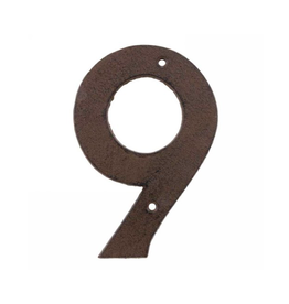 AES - House Number 9/Brown Cast Iron, 6""