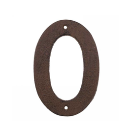 """AES - House Number 0 / Brown Cast Iron, 6"""""""