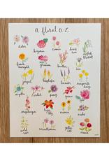 "Orchid & Ivory - Print/Floral A-Z  Alphabet, 8 x 10"""