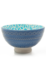 DCO - Bowl / Turquoise, Footed, Embossed, 4.25''