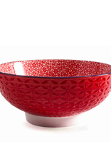 """DCO - Bowl/Red, Footed, Embossed, 7"""""""
