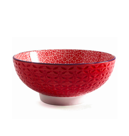 """DCO - Bowl / Red, Footed, Embossed, 7"""""""