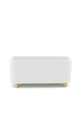 DCO - Footed Plant Pot / Oblong, White, 7''