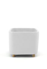 """DCO - Footed Plant Pot/Square, White, 5"""""""