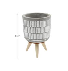 """CTG - Tripod Plant Pot/Lines, Concrete & Wood, 4.25"""" H"""