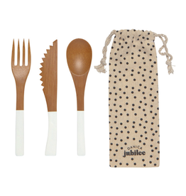 DCA - Utensils To Go with Bag / Bamboo, White