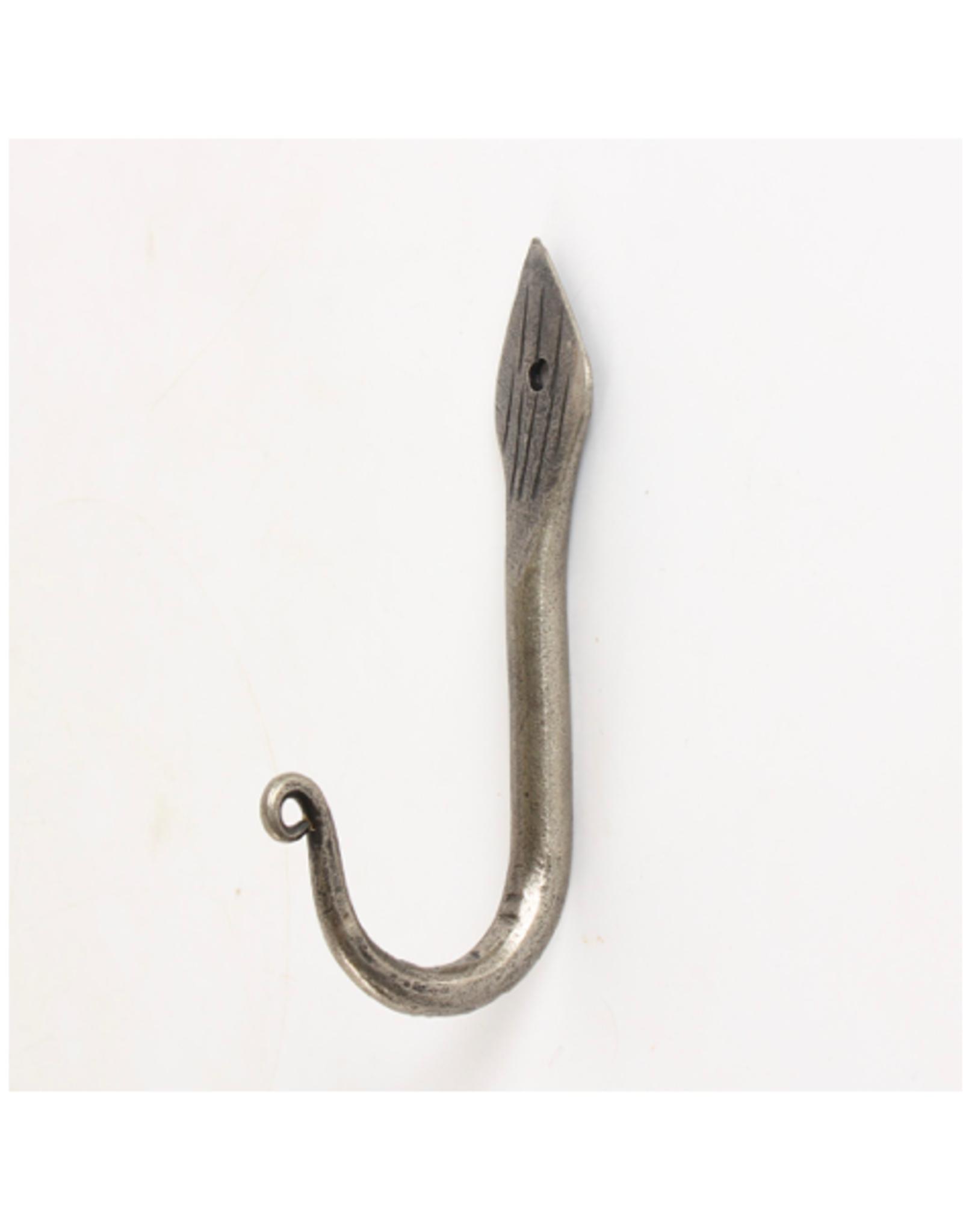"""CJM - Single Wall Hook / Silver Leaf, 4.75"""""""