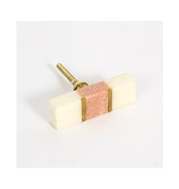 CJM - Knob / Pink, Marble & Brass