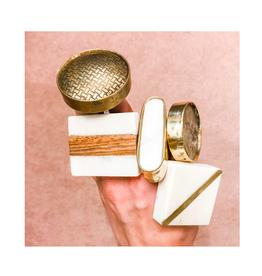 CJM - Knob / Oblong, Stone & Brass