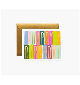 "Rifle Paper - Card / Happy Birthday, Colour Block,4.25 x 5.5"""