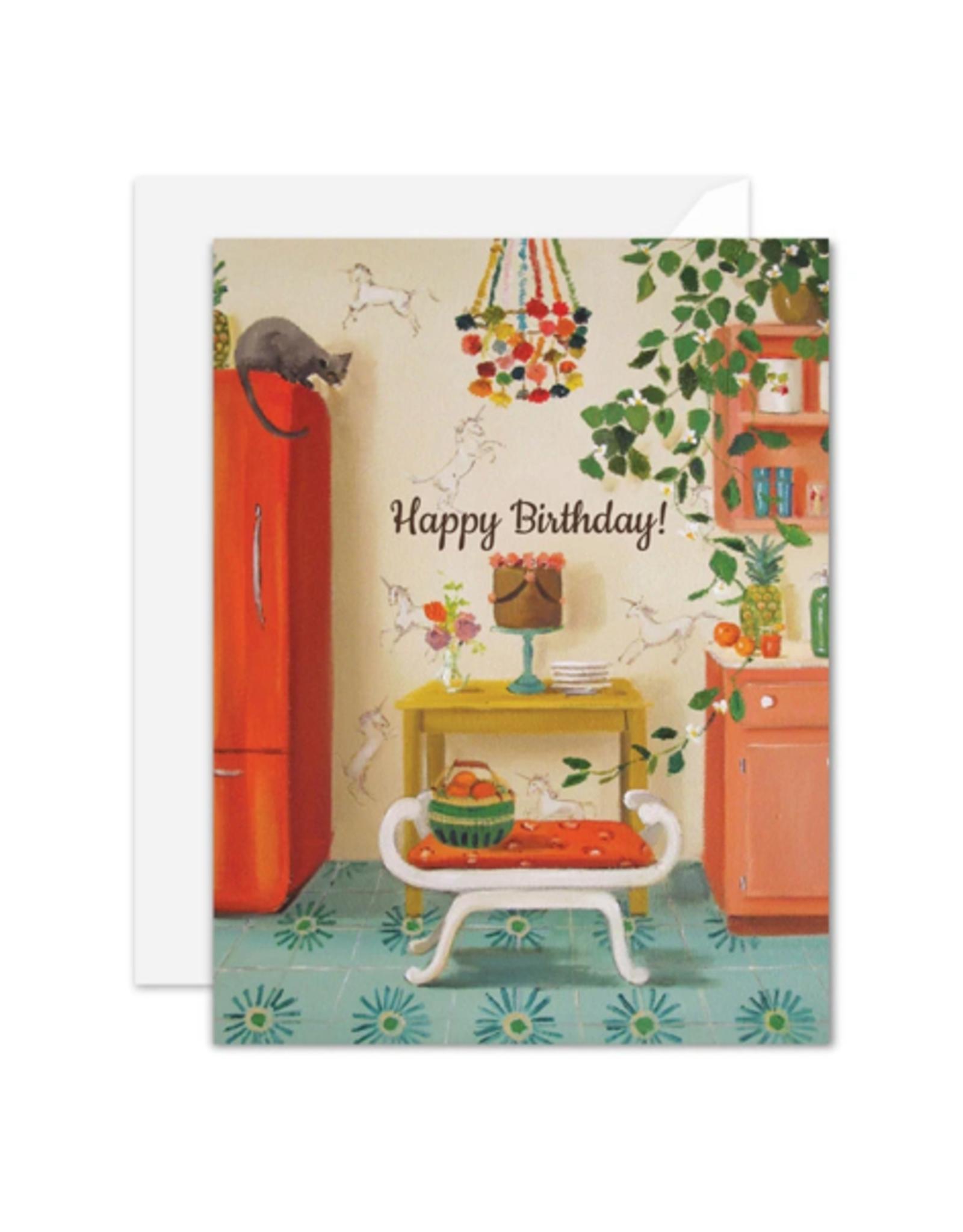 "Janet Hill - Card / Happy Birthday! Unicorns, 4.25 x 5.5"""