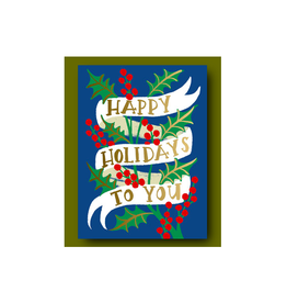 """PPS - Card / Happy Holidays to You, Ribbon, 4.6 x 6.25"""""""