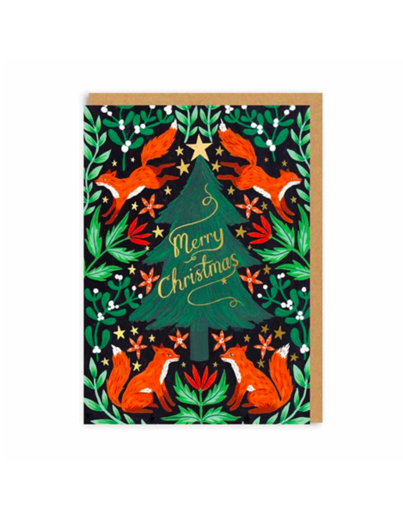 """PPS - Card / Merry Christmas, Foxes, 4 x 6"""""""