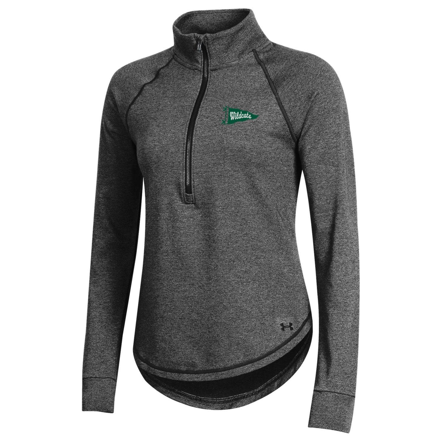Under Armour Pullover: UA Ladies 1/4 Zip Charcoal with Flag/Script Wildcats