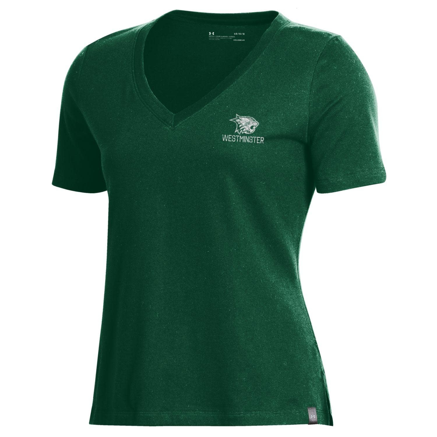 Under Armour T: UA Women's Forest Green V-Neck Cat over Westminster on left chest