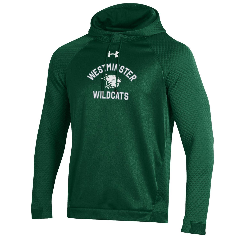 Sweatshirt: UA Moisture-Wicking Hoody Cat between Westminster Wildcats - Green