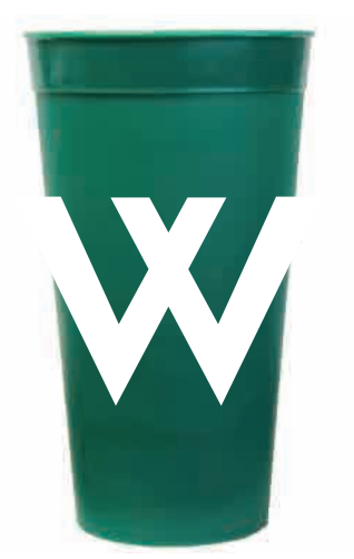 Cup: Plastic Green W