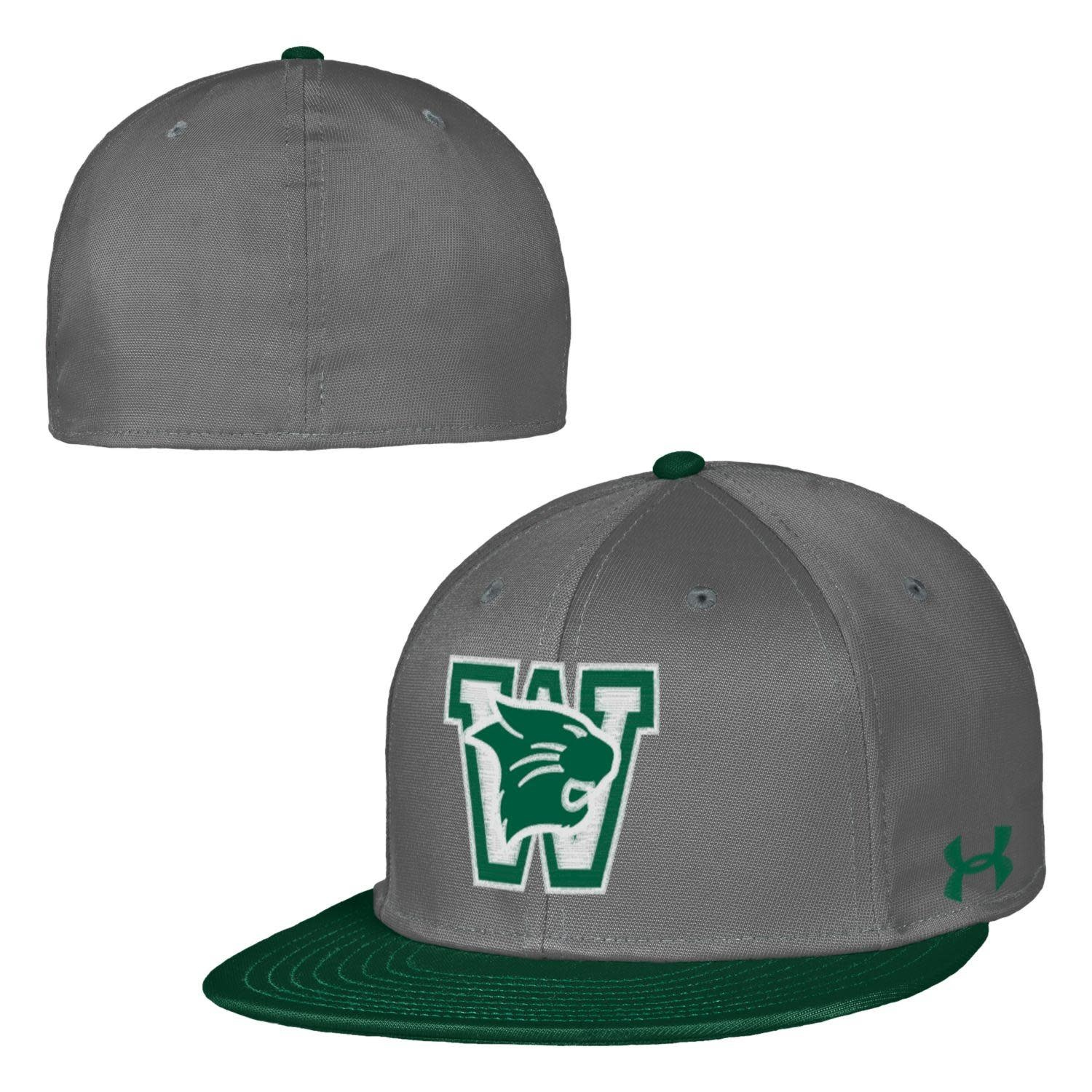 Under Armour Hat: UA Youth Flat Bill - Gray w/Forest Bill
