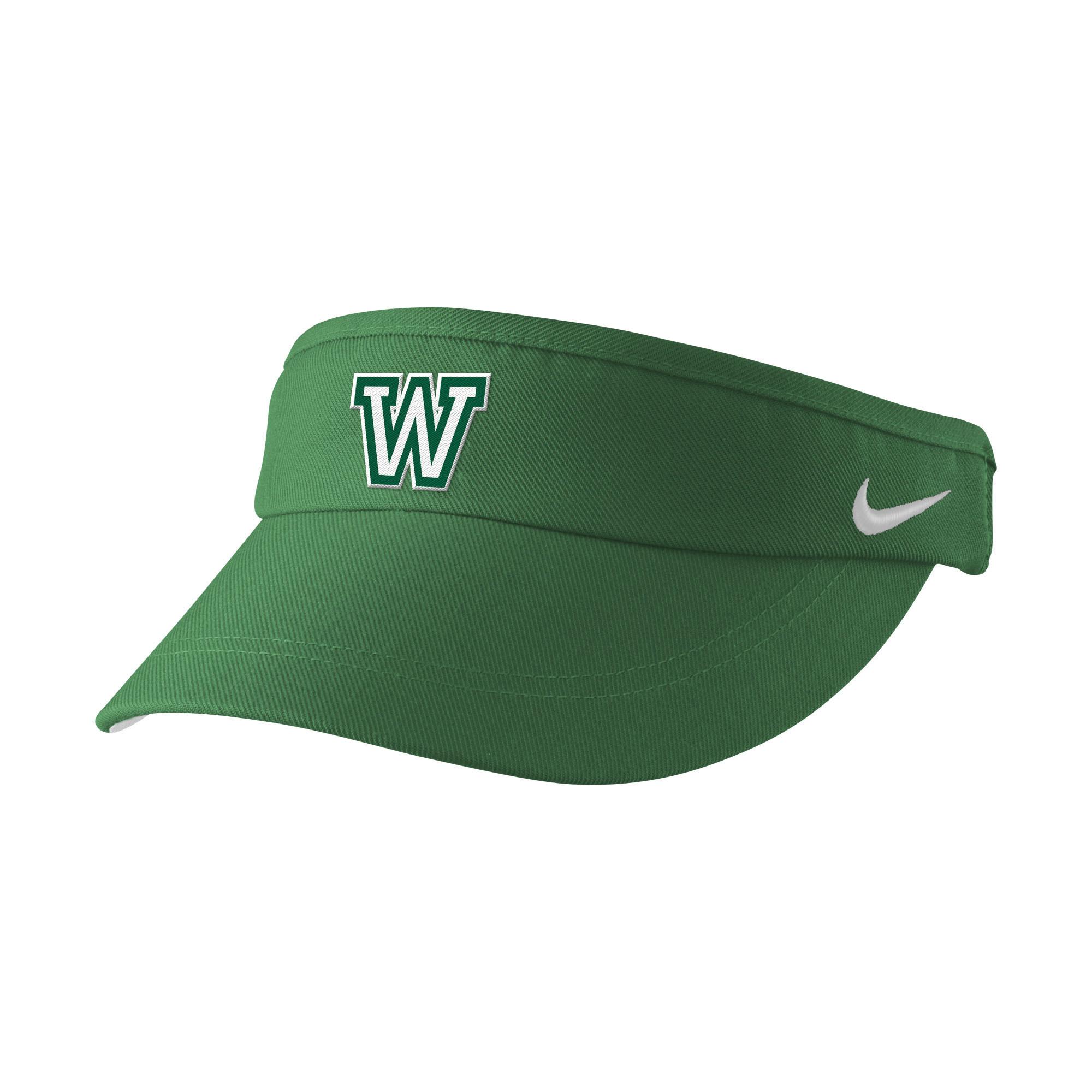 Visor: Nike Sideline Visor- Green with White W