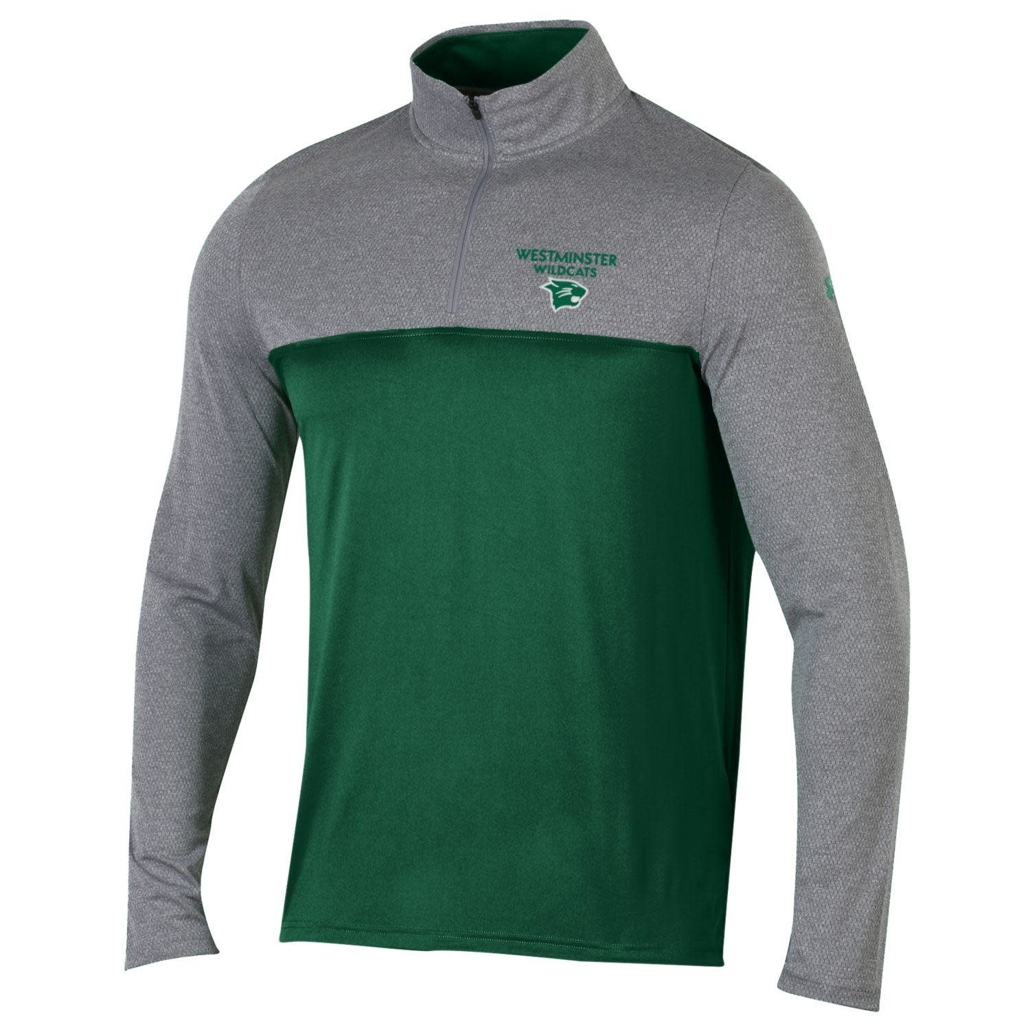 Pullover: Men's 1/4 Zip Color Block West Wildcats w/logo - Green/Gray