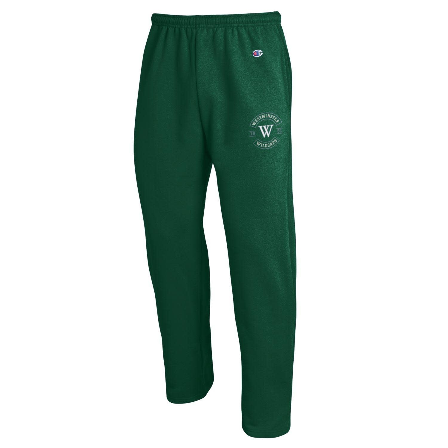 Champion Sweatpants: Champion Open Bottom w/pockets  - Green