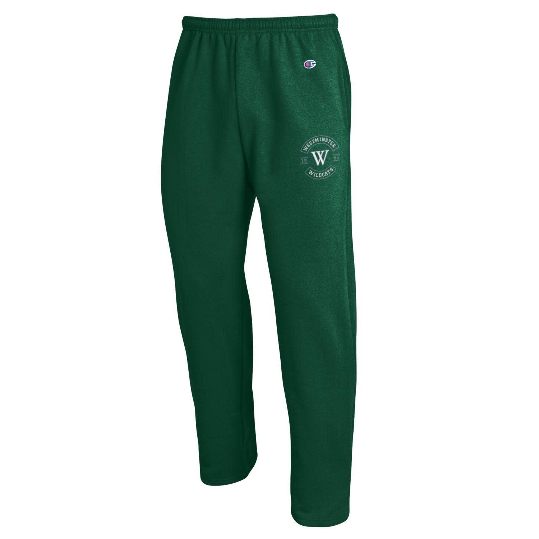 Sweatpants: Champion Open Bottom w/pockets  - Green