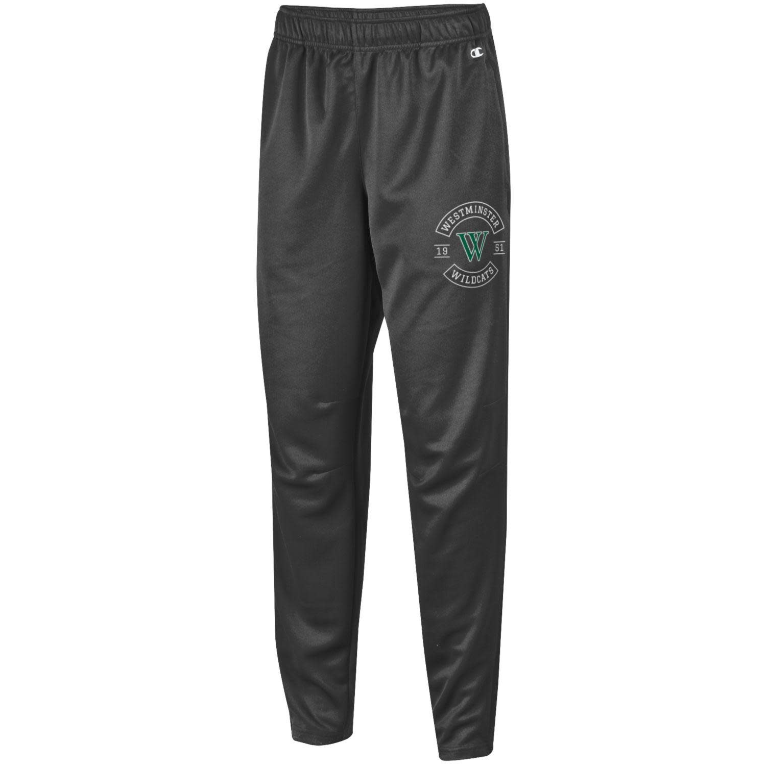 Sweatpants: Champion Charcoal Heather/WM Wildcats Arched around W and 1951