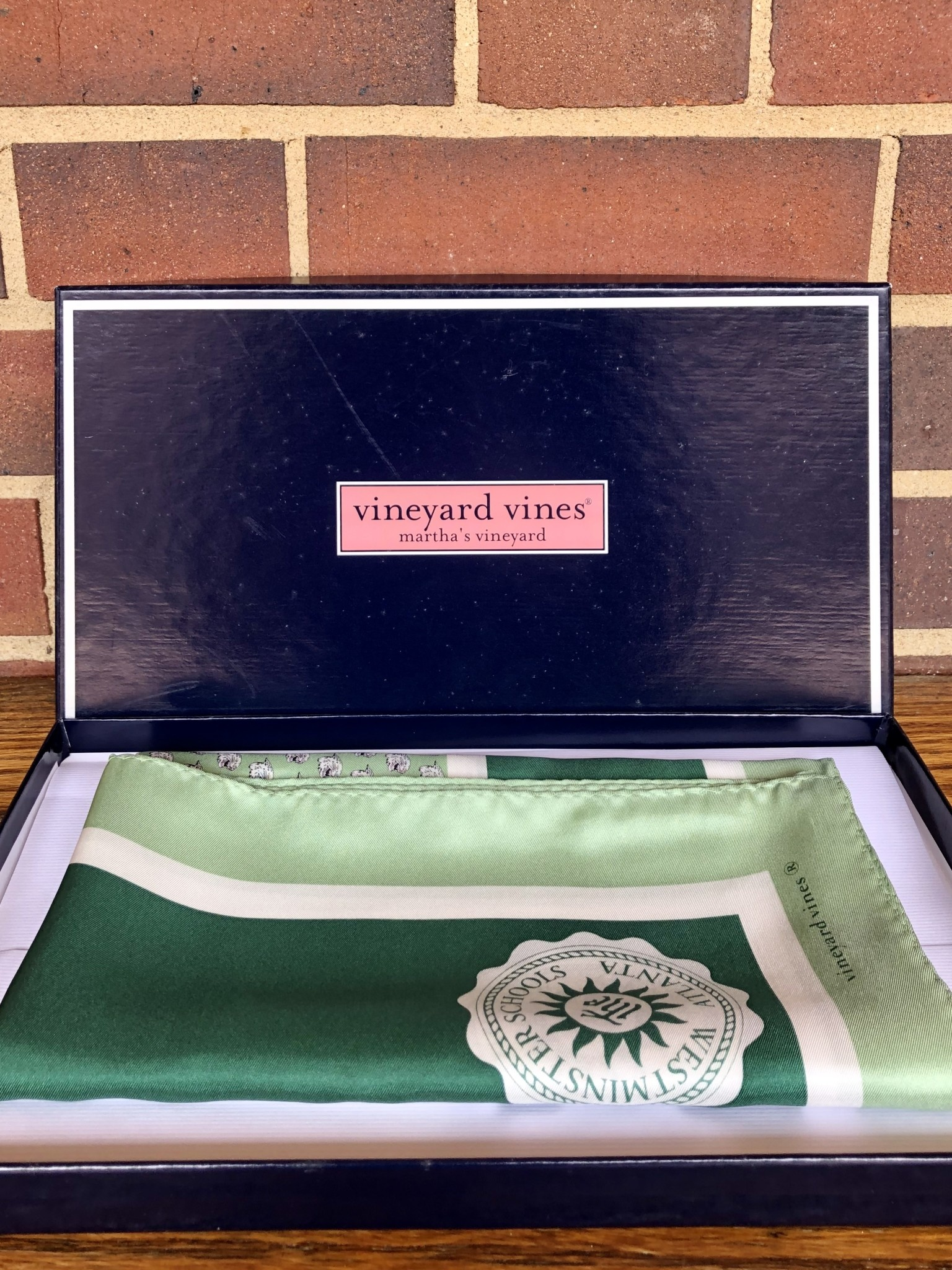 Vineyard Vines Scarf: Vineyard Vines Green with Westminster Seal
