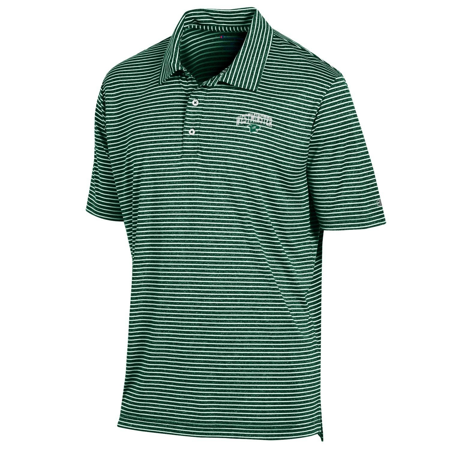 Polo: Champion Green & White Stadium Stripe - WM over Logo