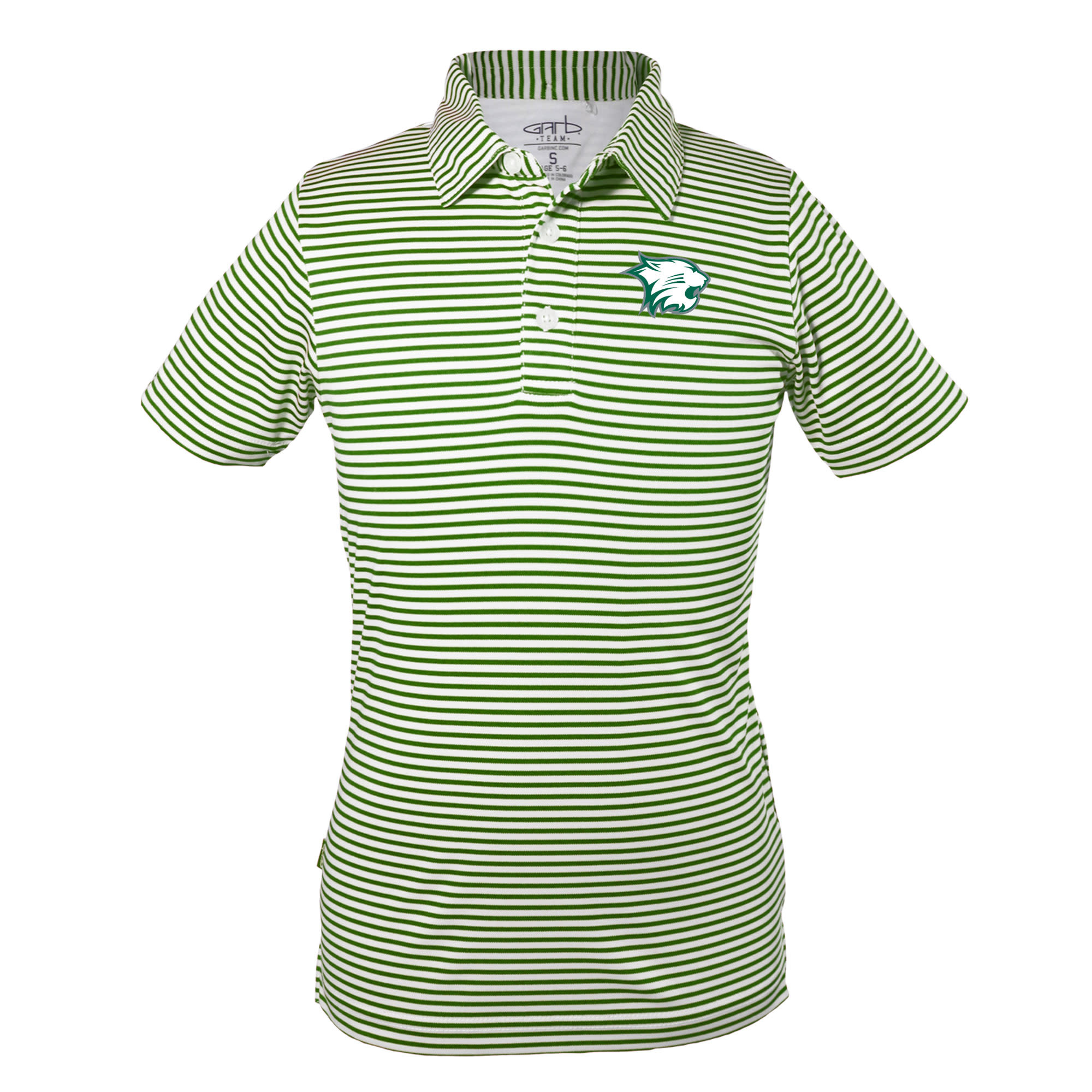 Garb Polo: Striped w/ Wildcat Logo