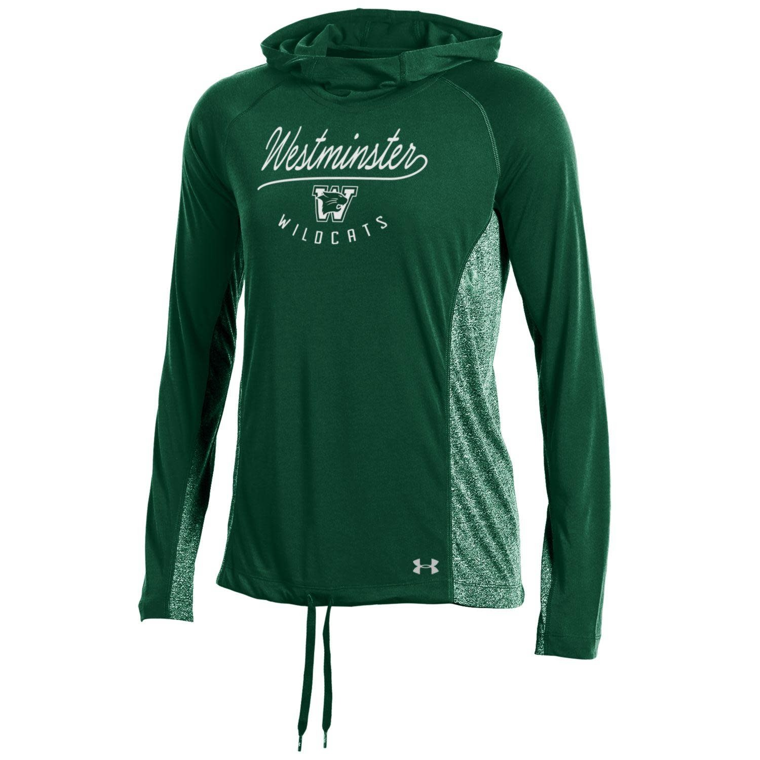 Under Armour Pullover: UA Women's Hoody Green West Script Heather Green Sides