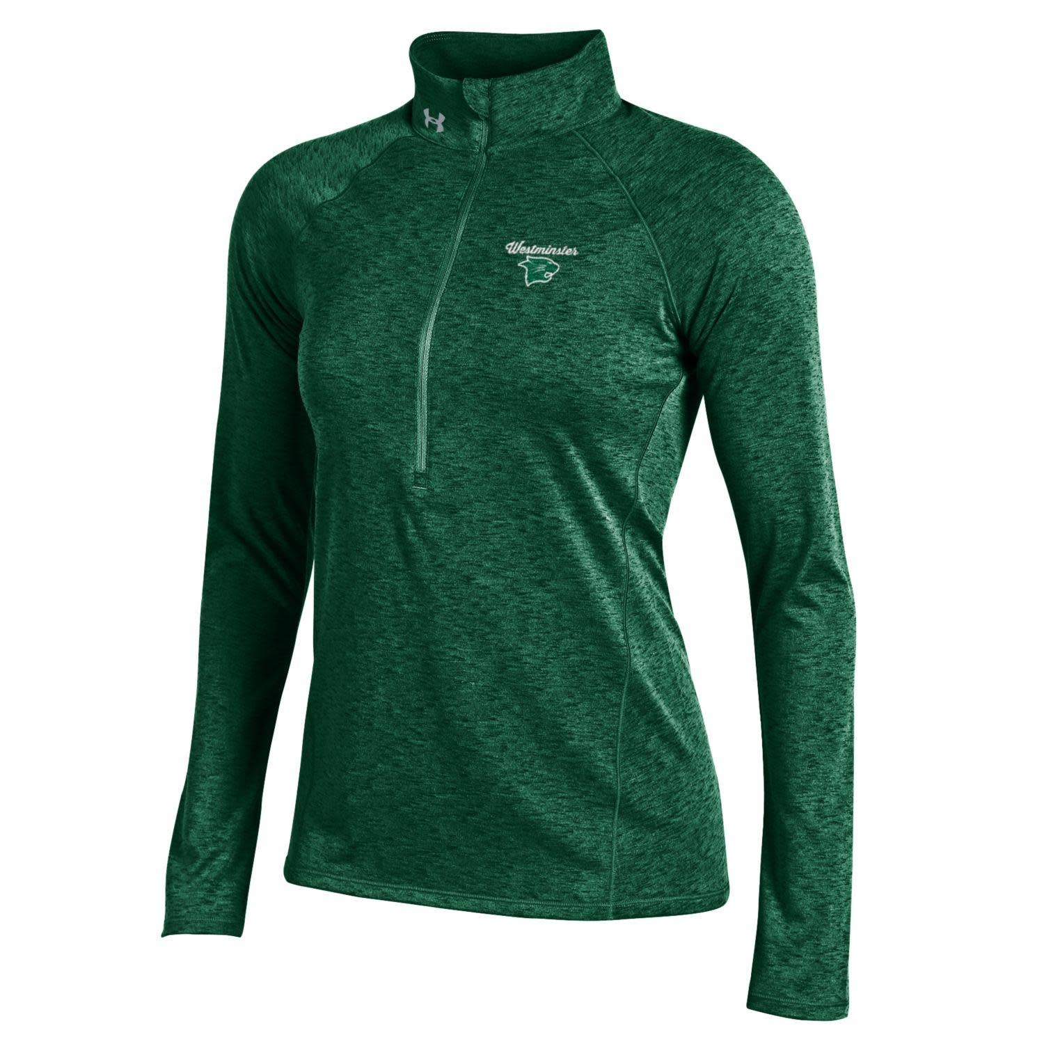 Under Armour Pullover: UA Women's Tech - Forest Green w/Westminster over Logo