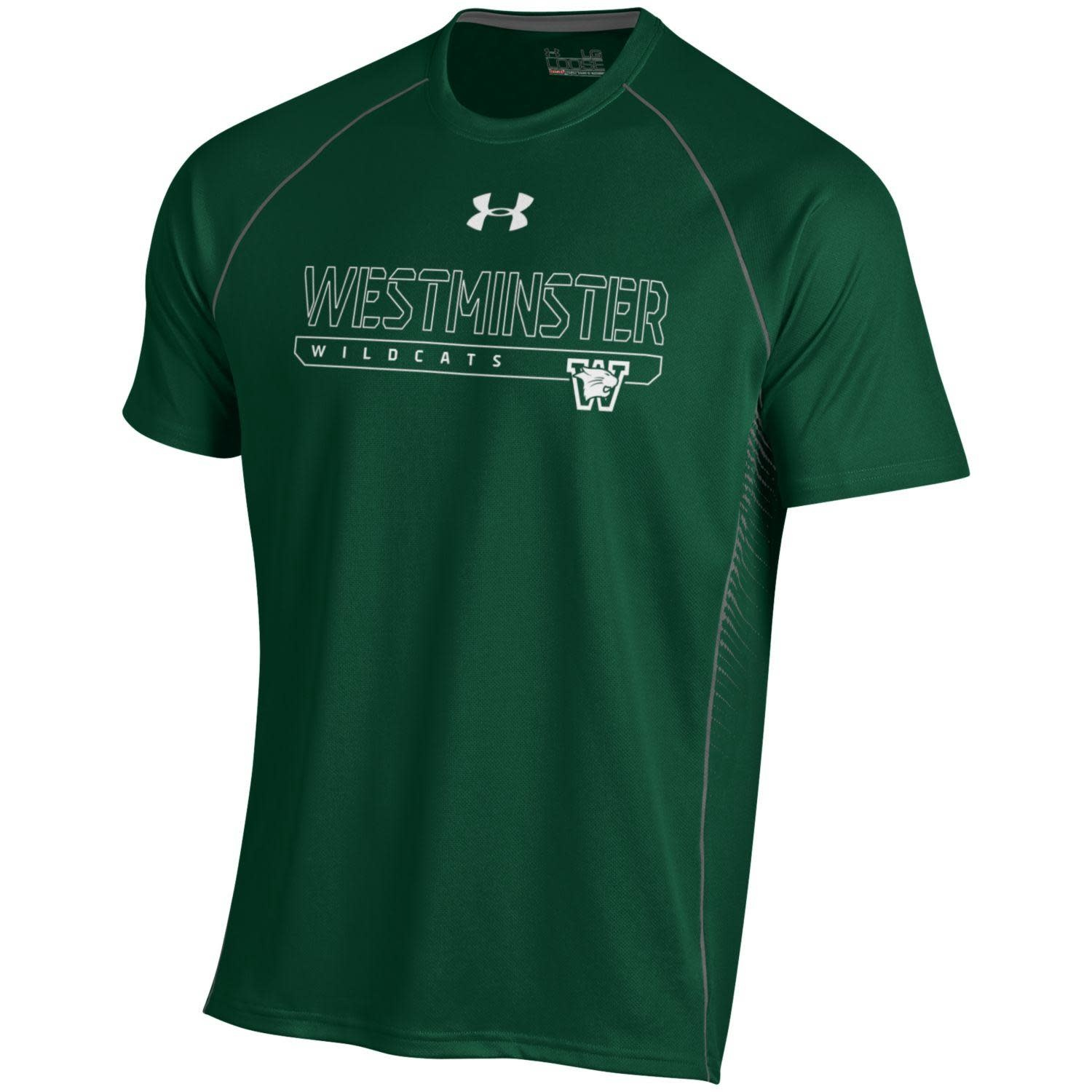 T: UA Dri-fit SS Forest w/gray stripe w/white West Wildcats