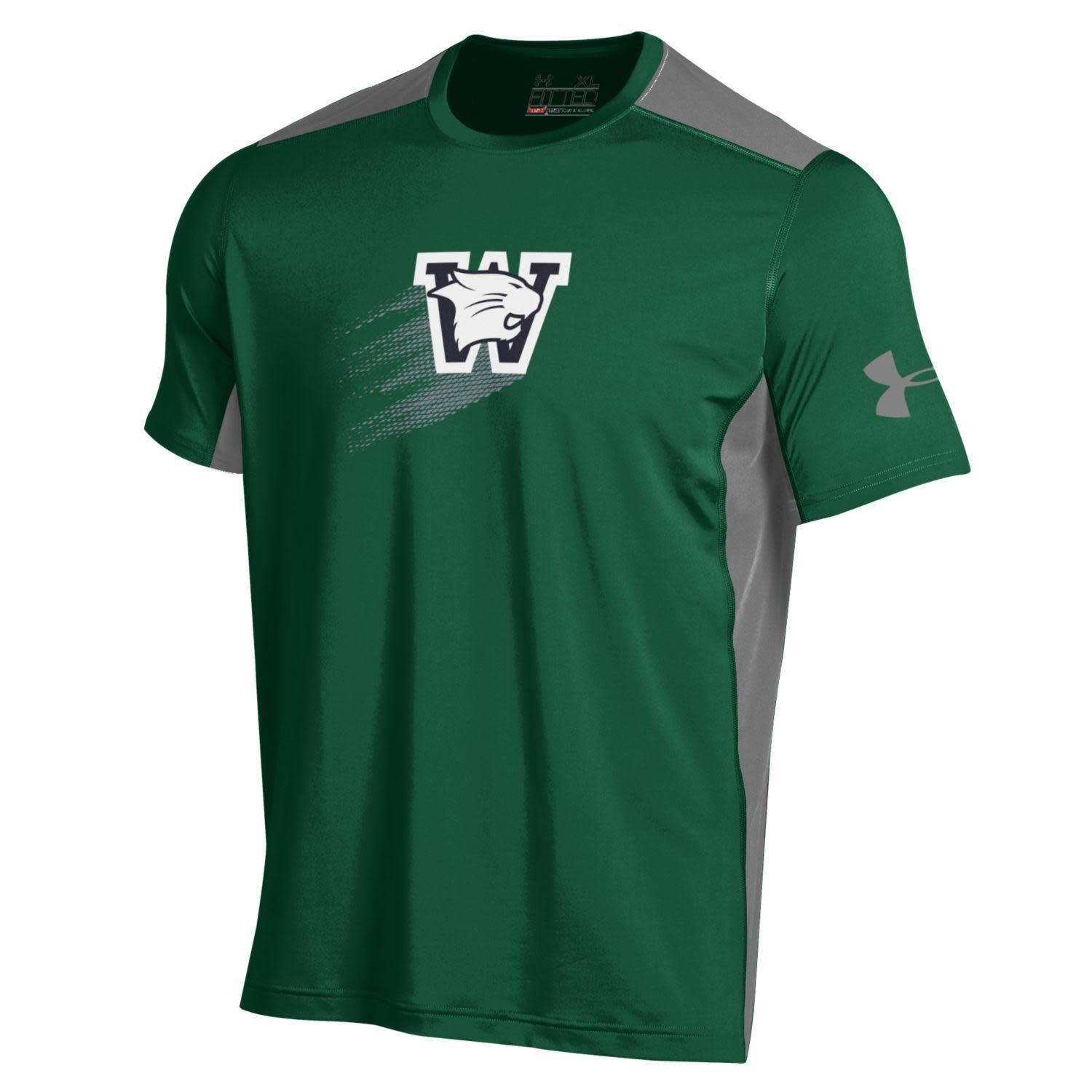 Under Armour T: UA Raid SS Forest - Logo with Gray Diamond Flair/Gray Mesh Sides