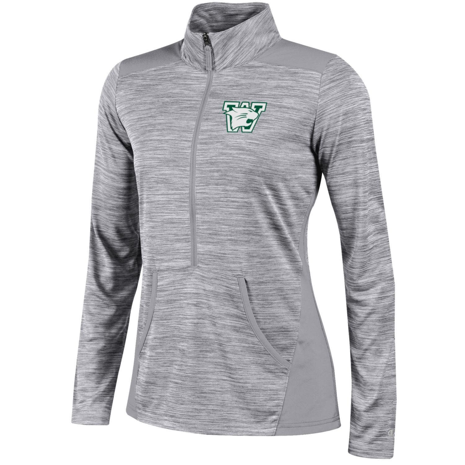 Champion Pullover: Champion Ladies 1/2 Zip Active Gray w/Pockets and Logo