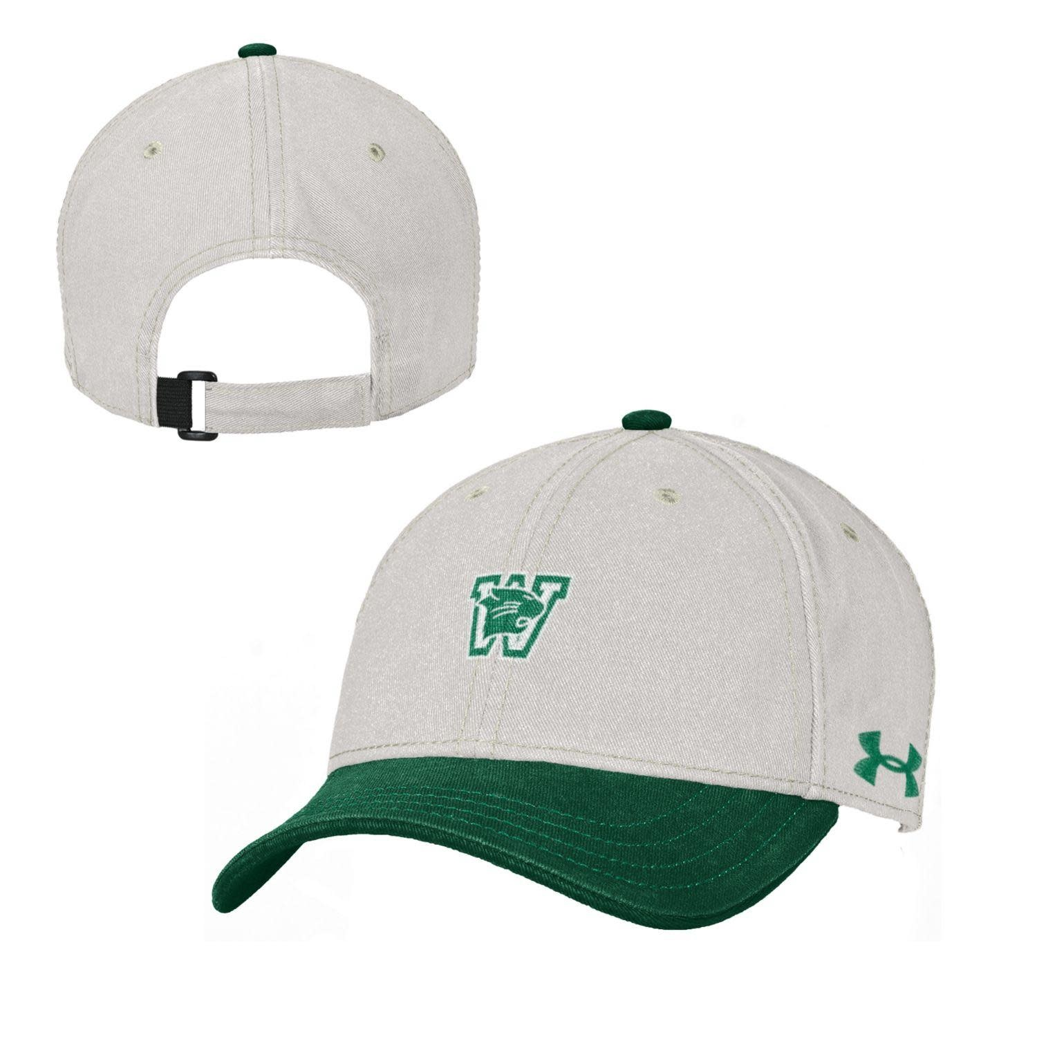 Under Armour Hat: UA Youth OS Free Fit Stone with Green Visor and Green Button