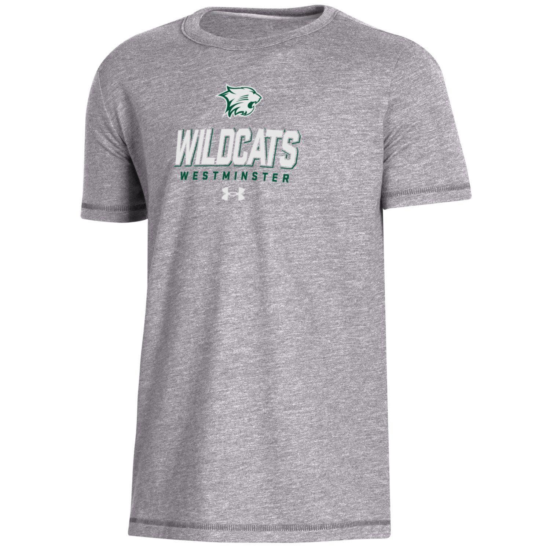 T: UA Boys Biblend SS Wildcats Light Gray