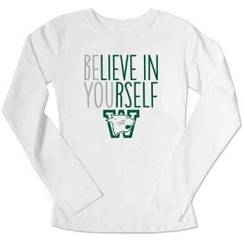 College Kids T: College Kids White LS Believe in Yourself