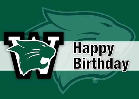 Card: Happy Birthday Westminster - logo over wildcat head