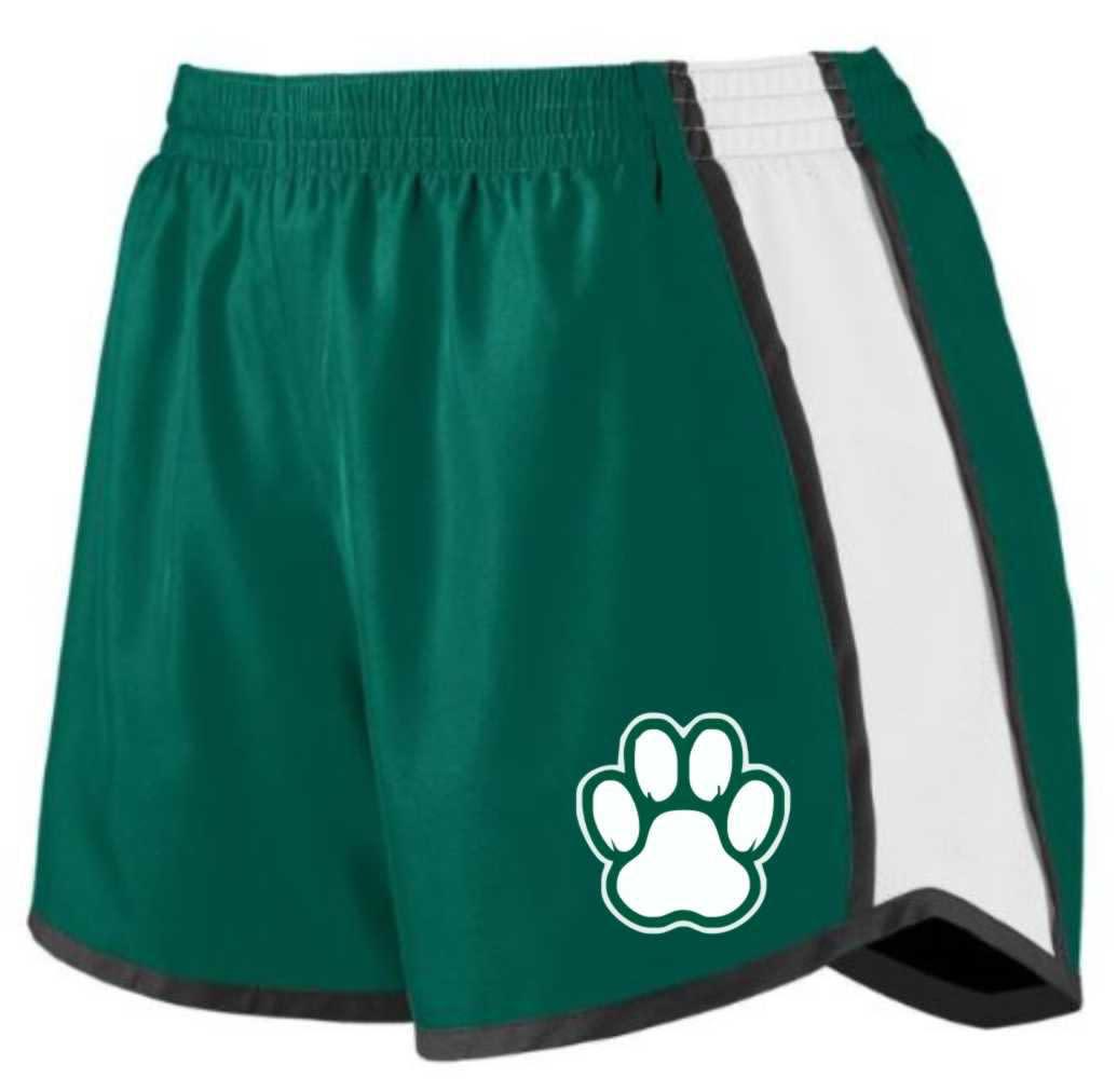 Forerunner-Pennant Shorts: Forerunner Girls' Pulse Team Green/Black/White w/Paw