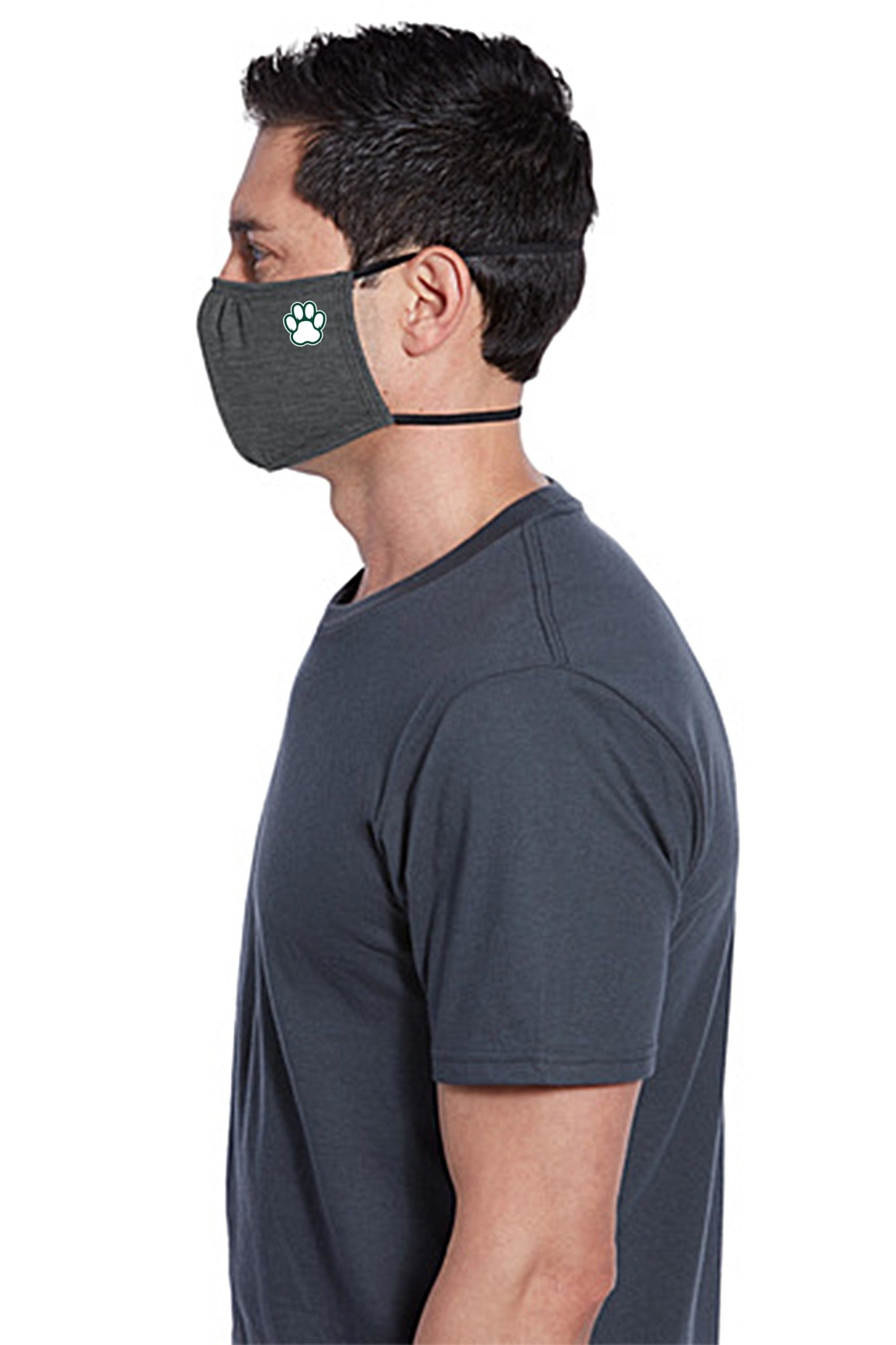 Face Mask: Paw Print 2-Strap - Dark Gray
