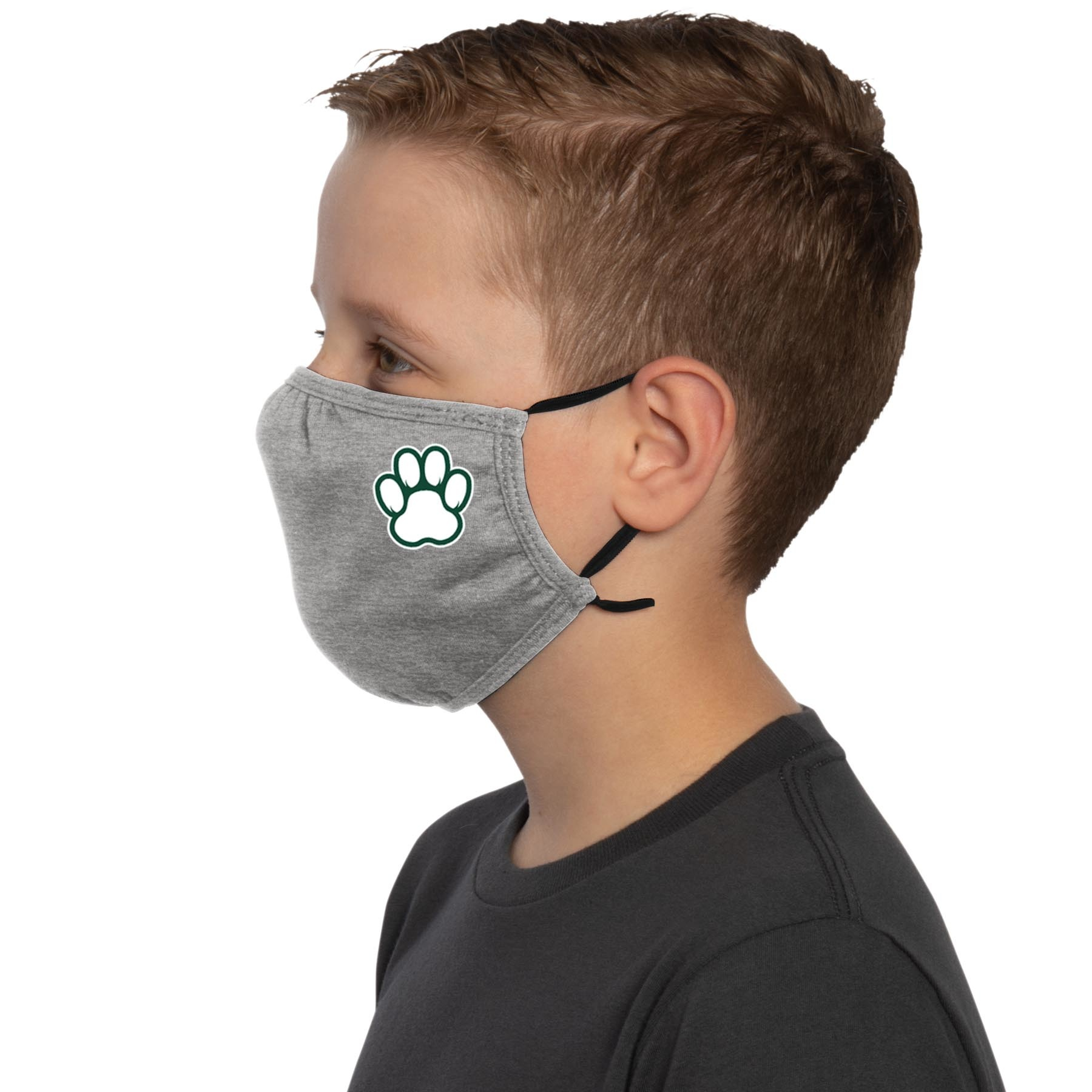 Face Mask: Youth Paw Print Ear Loops - Heather Gray