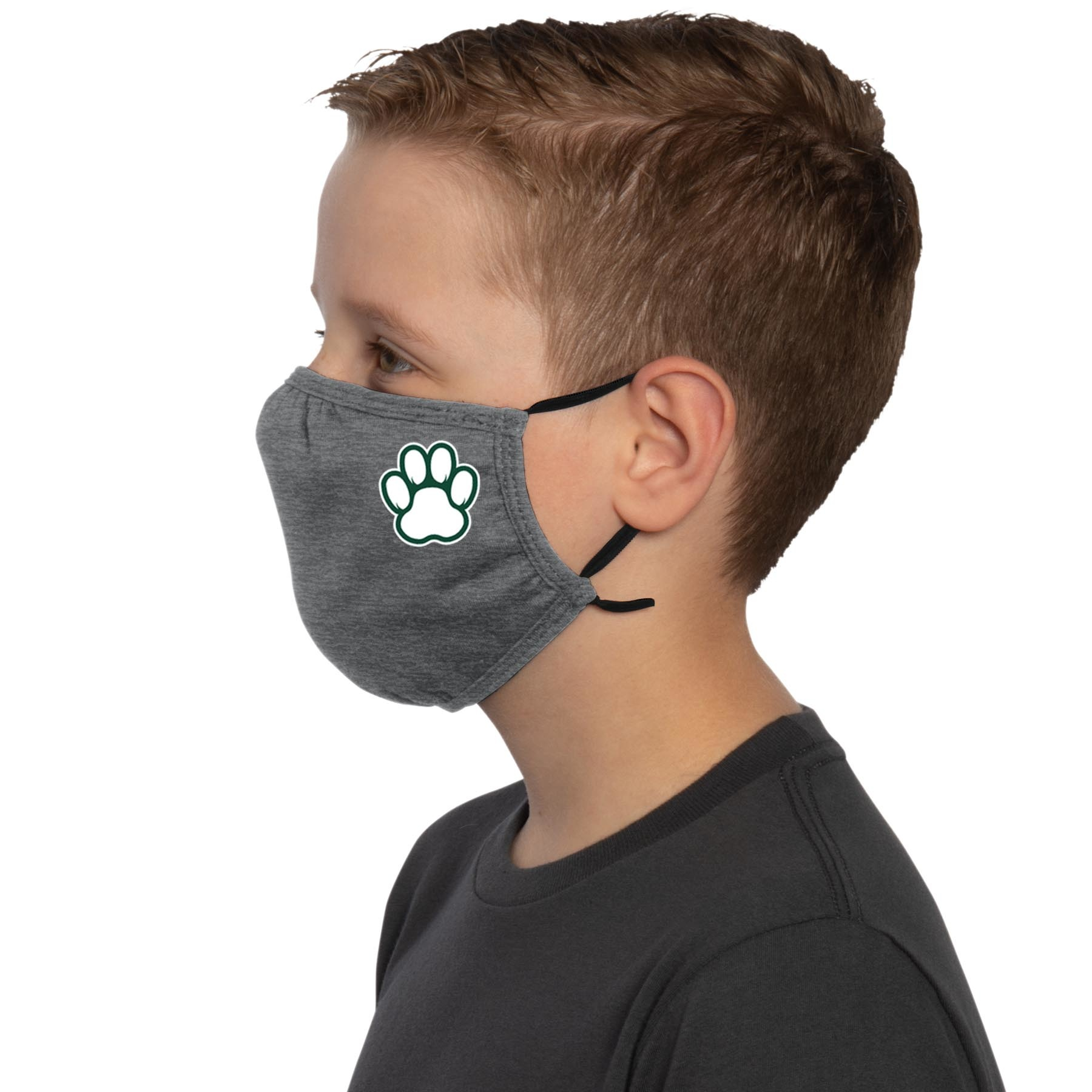 Face Mask: Youth Paw Print Ear Loops - Dark Gray